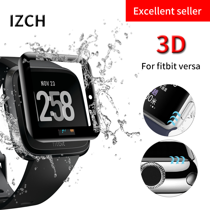 3D Curved Tempered Glass Screen Protector for Fitbit Versa Fitness Tracker Watch Waterproof Screen Protection Film Accessories fitbit watch