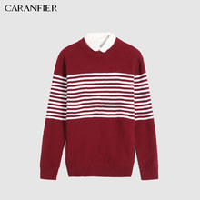 CARANFIER Casual Warm Knit 100% Cotton Thin Men's Pullover O-Neck Full Sleeve