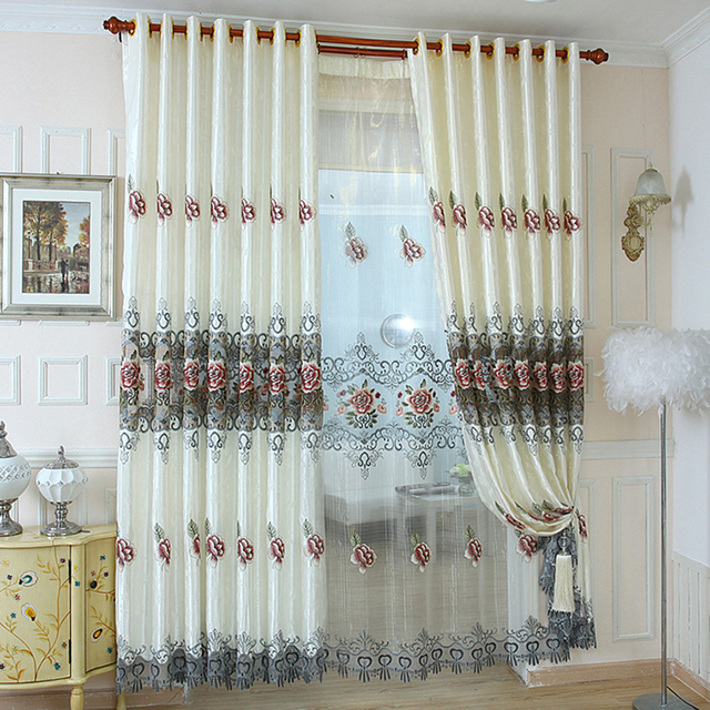 US 30 1 Simplife Tulle Window Elegant Luxury Classical Flora Pattern Silk Retro Curtain Blackout Drape Living Room Bedroom Kitchen CL191 In Curtains