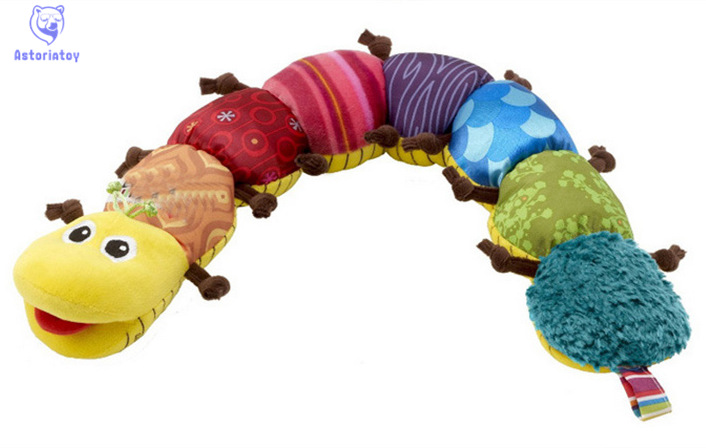 55cm soft Baby font b Toys b font Musical stuff Caterpillar with Ring Bell Cute Cartoon