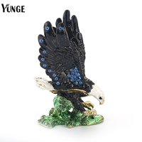 YUNGE Animal Toy Freedom Eagle Jewelry Trinket Box Decoration Hand Made Vintage Eagle Souvenir Figurine Metal Crafts