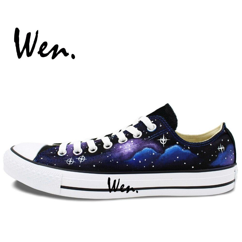 Wen Izvorni ručno oslikane cipele Dizajn Custom Stars Blue Galaxy - Tenisice - Foto 4