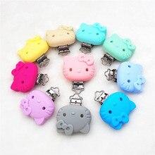 Chenkai 50PCS BPA Free Silicone Hello Kitty Cat Clips DIY Baby Animal Nursing Pacifier Dummy Teether Chain Holder Toy