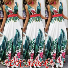 Womens Boho Long Dresses Ladies Summer Beach Floral Maxi Dress UK Size 6 - 14 Ladies V-neck Fit and Flare Long Dress Female(China)