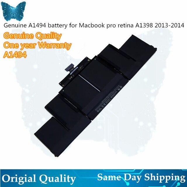 """מקורי A1494 סוללה עבור Macbook Pro 15 """"אינץ רשתית A1398 סוללה מאוחר 2013 אמצע 2014 MGXC2 MGXA2 ME293 ME294 95Wh 11.26V"""