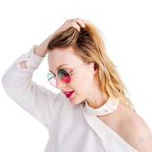2019 Classic Small Frame Round Sunglasses Ocean Color gradient lens Clear Glasses UV400 Metal