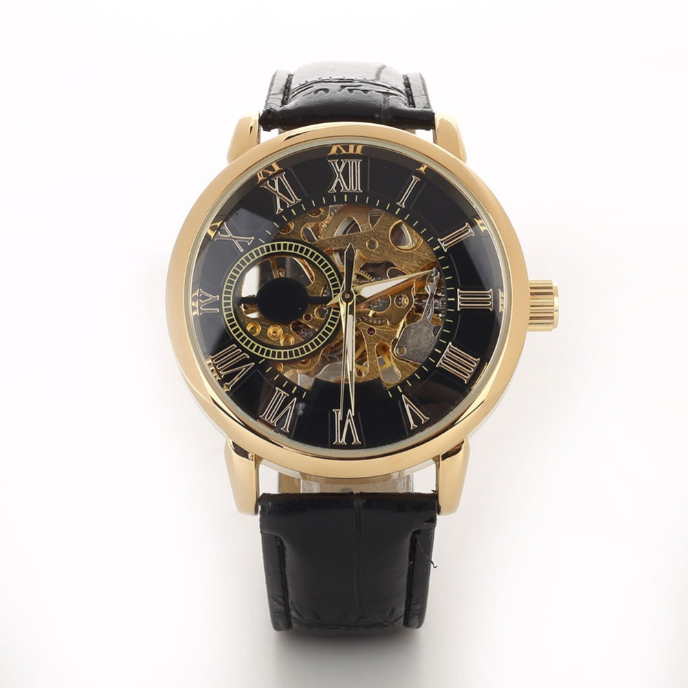 Men Luxury 3D Hollow Engraving Case Roman Numbers Skeleton Dial Mechanical Watch smt 89 стоимость