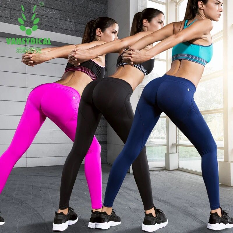 Vansydical Women Yoga Pants Fitness Sexy Hips Push Up -4364