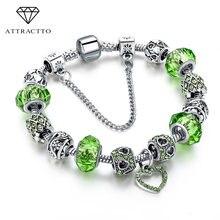 Модный женский браслет с подвесками в виде сердца кристаллами