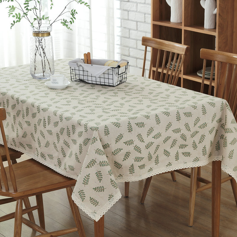 Gray Green Leaf Pattern Decorative Table Cloth Cotton