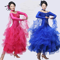 2016 Ballroom Dance Dress Tango Costume Long Sleeve 10 Color Halloween Costumes Modern Dress waltz dance dress Free Shipping