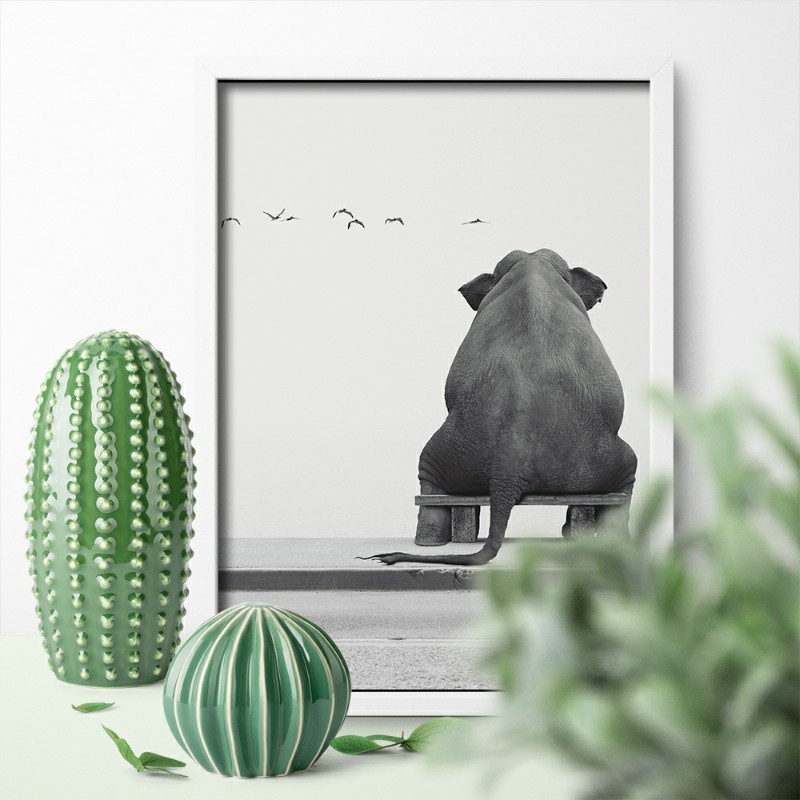 Funny Animal Elephant Sitting Canvas Painting Hd Printed Canvas Art Wall Pictures Poster For Living Room Home Decor Unframed