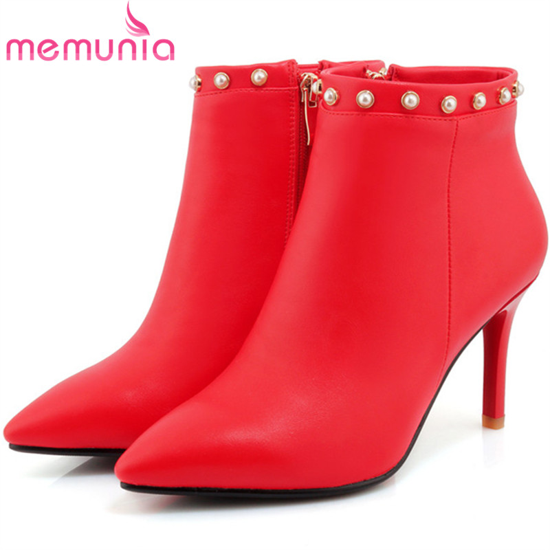 MEMUNIA 2018 Large size 34-42 party shoes sexy lady ankle boots for women PU soft leather high heels boots female pointed toe large size 34 40 2016 fall women ankle boots cowhide soft leather flower genuine leather women short boots flat with shoes lady