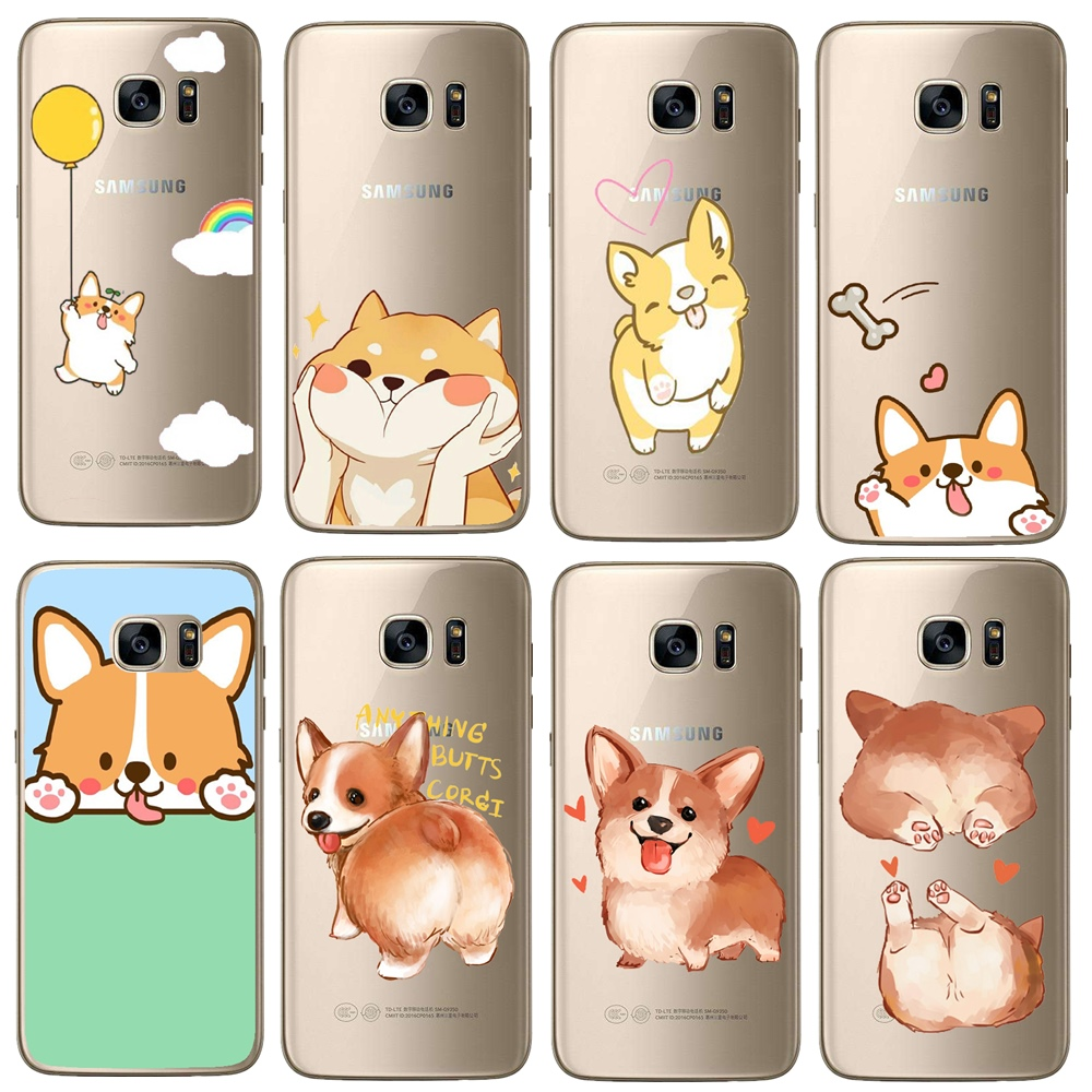 Super Cute Corgi Matte Hard Plastic Case For Samsung <font><b>Galaxy</b></font> S3 <font><b>S4</b></font> S5 <font><b>Mini</b></font> S6 S7 Edge S8 S9 Plus <font><b>Sexy</b></font> Cartoon Dog Cover Capa image