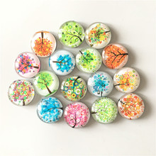 Free shipping (14pcs/lot)Fresh Tree Crystal Glass fridge magnet Cartoon message sticker refrigerator Kitchen home Decor