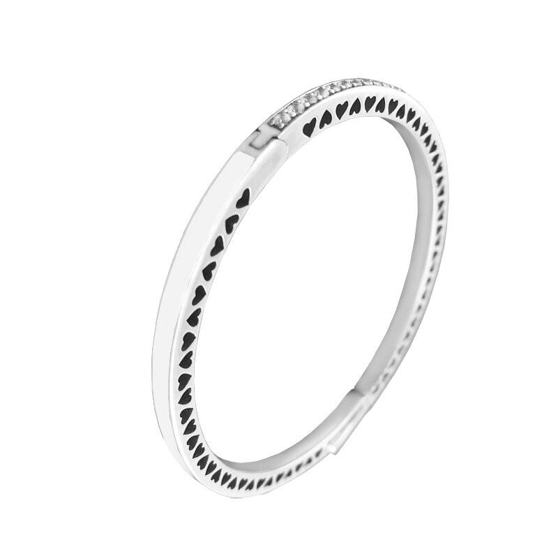 Bracelets de fandole Bracelets en argent Sterling 925 bracelet de cœurs radiants avec émail en argent et CZ clair femmes bijoux à bricoler soi-même