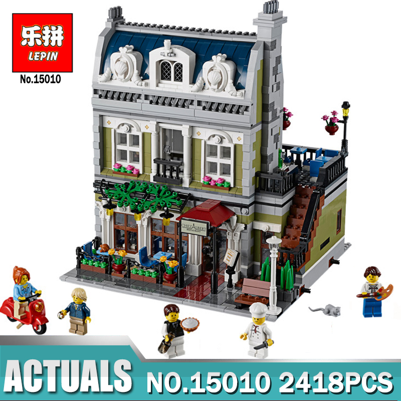 New Lepin 15010 Expert City Street Parisian Restaurant Model Building Kits Blocks Children Toys Compatible With legoing 10243 lepin 21004 ferrarie f40 sports car model legoing building blocks kits bricks toys compatible with 10248
