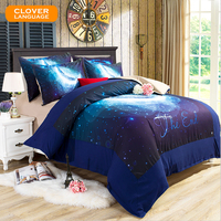 CLOVER LANGUAGE 3D Bedclothes Galaxy Bedding Sets Universe Outer Space Home Textiles Sheets Beddings Set Full