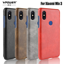 Vpower for xiaomi mi max 3 mix A2 Mix 2 case Litchi PU leather + Matte PC armor phone back shell mix3 a2