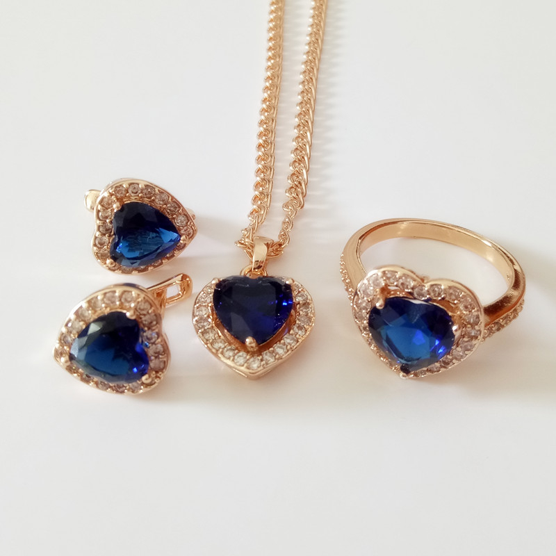 1Set Rose Gold Plated Jewelry 2016 Bridas