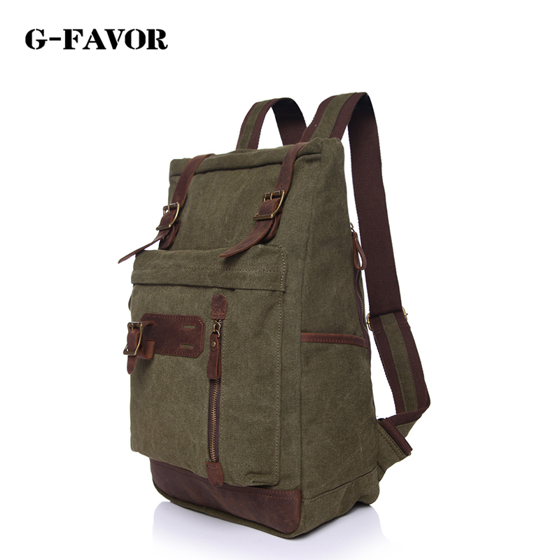 2017 Designer Brand Casual Vintage Canvas Leather Bagpack Backbags Men Travel Bag Pack Korean Style Bagpack Rucksack School Bags