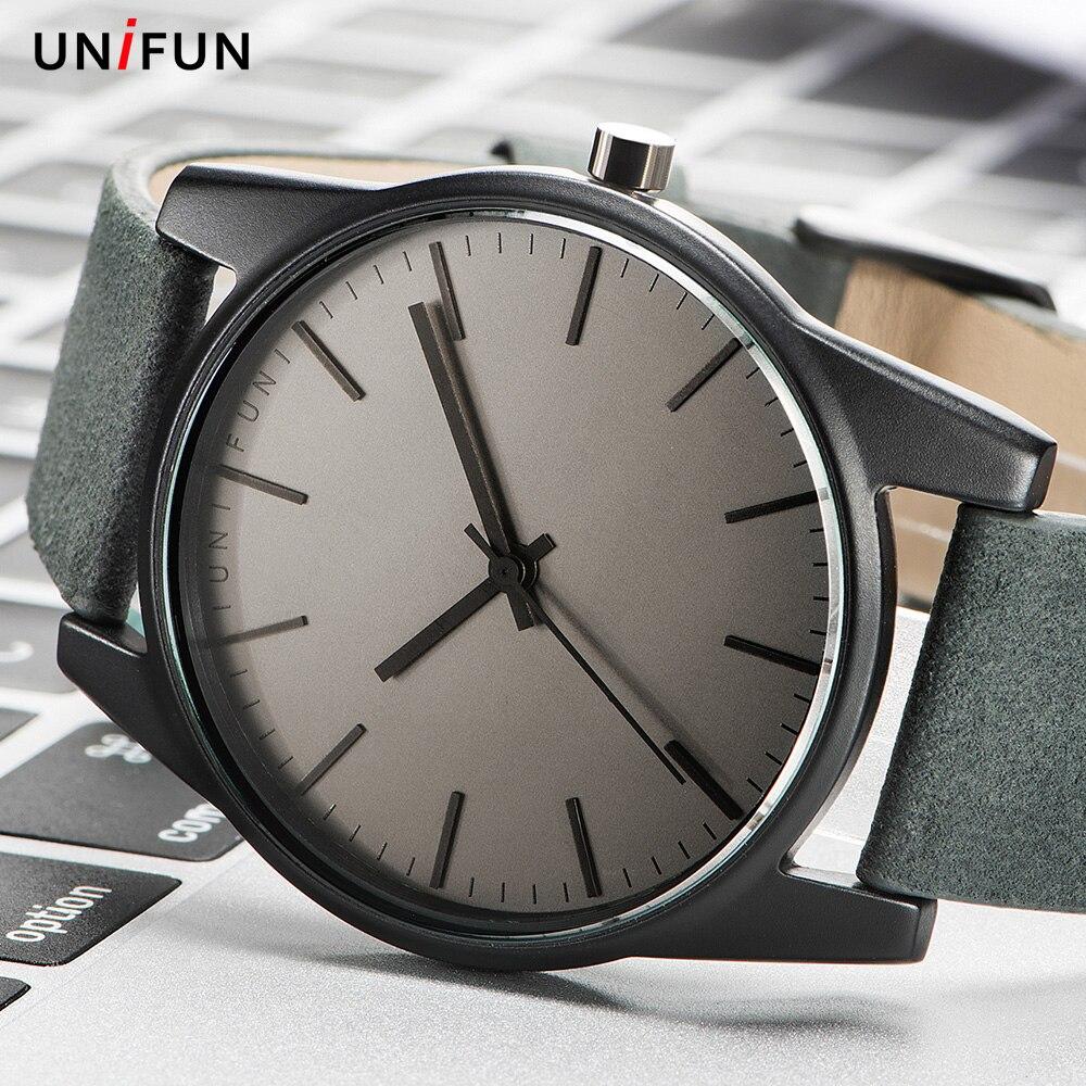 Prix pour UNIFUN Hommes Femmes Unisexe Amant Ultra Mince Style Simple Robe D'affaires Bracelet En Cuir Quartz Relojes Hombre Mode Casual Montres