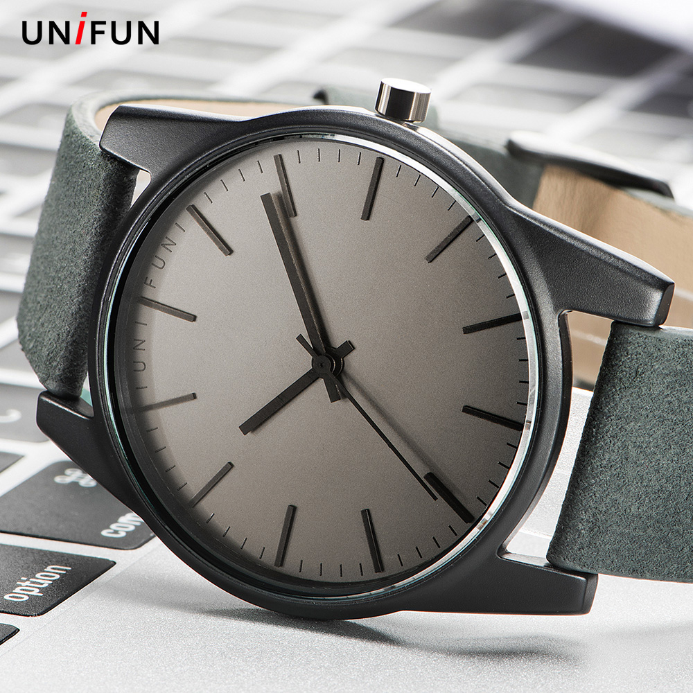 цены UNIFUN Men Women Unisex Lover Ultra Thin Simple Style Dress Business Leather Strap Quartz Relojes Hombre Fashion Casual Watches