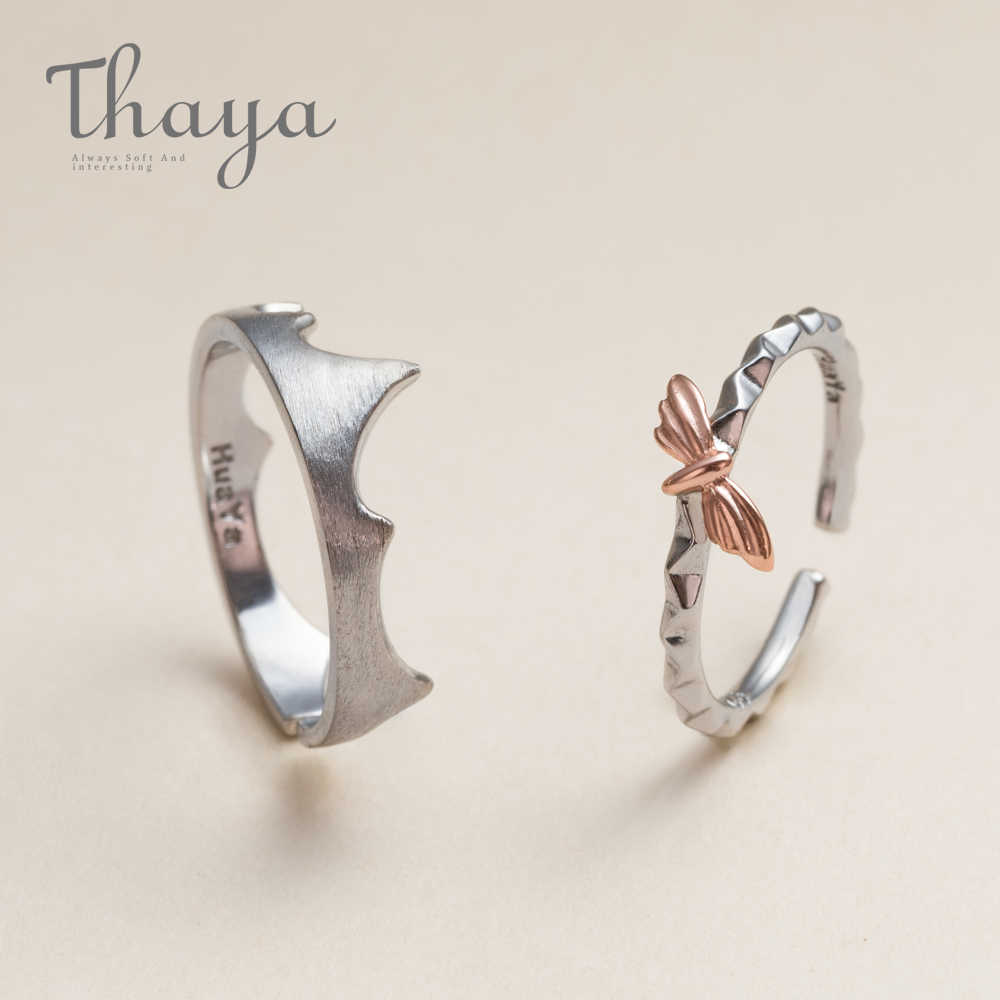 Thaya Rose Gold ประณีต Moth Fire Edge วงกลมแหวน 925 เงินสเตอร์ลิง Frosted แหวนเครื่องประดับหมั้นผู้หญิง
