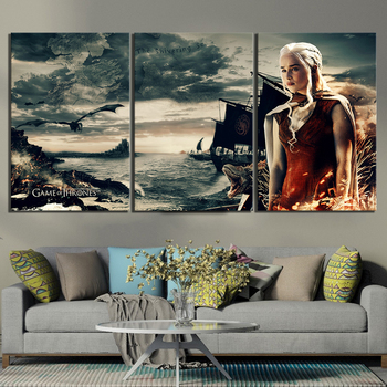 3 Piece HD Artwork Paintings A Song of Ice and Fire Daenerys Targaryen Game of Thrones Movie Poster Canvas Paintings Wall Art