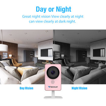 VStarcam WiFi Mini Camera Panoramic Infrared Night Vision Wireless Motion Alarm Video Monitor IP Camera C60S Pink 3