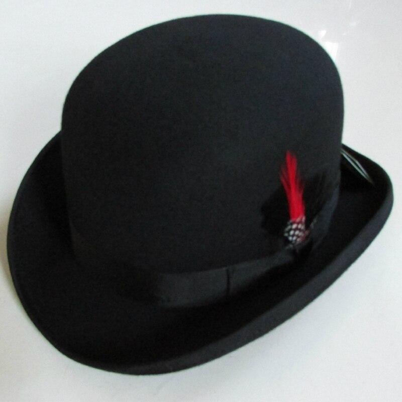 d426c157970 Buy winter fashion Bowler Hat wool fedora trilby hats for men 100% wool  derby hat felt billycock hats men s dome chapeu casquette Online
