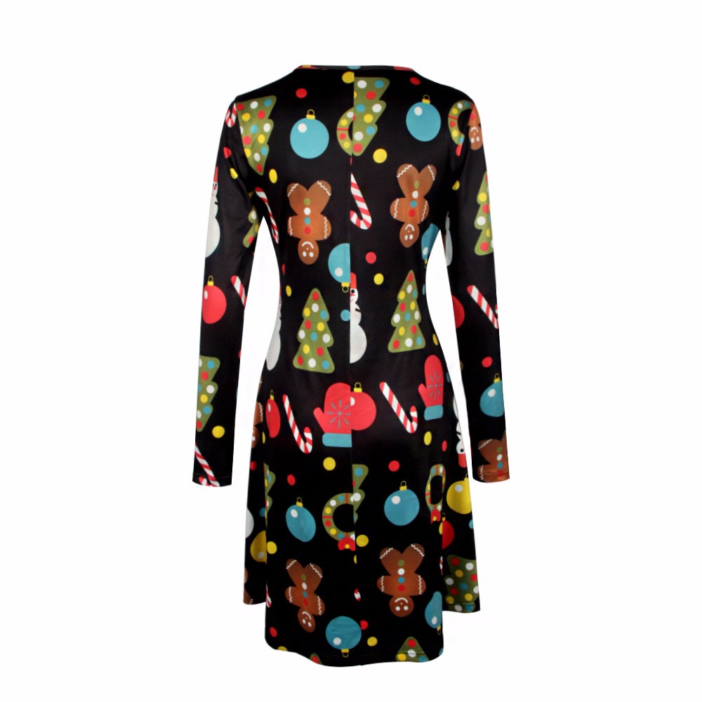 4XL 5XL Big Size Casual Print Cartoon Christmas Tree Cute Loose Dress Autumn Winter A-Line Dresses 18 Plus Size Women Clothing 7