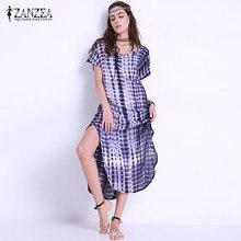 ZANZEA Для женщин короткий рукав Tie Dye side slit Maxi богемное Платье район Плюс Размеры 5xl Vestido женский летний цветочный Пляжное платье