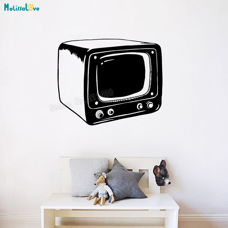 Vintage Television Wall Decal Small TV Wallpaper Home Decor For Living Room Bedroom Self Adhesive Vinyl Art Decals YT343 In Stickers From Garden