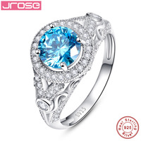 Jrose Wedding Engagement Jewelry Solid 925 Sterling Silver Blue CZ Ring 2.45 Carat Round Shape Charms Fashion for Women