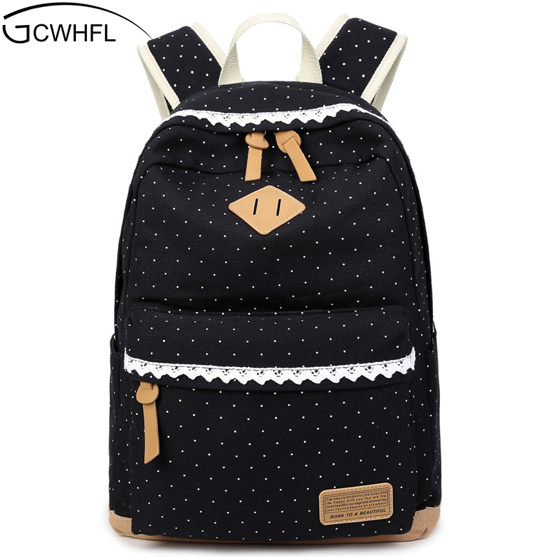 Cute Backpack High Quality Women Backpack Dot Printing Girls School Backpack For Teenagers Vintage Stylish Ladies Shoulder Bag