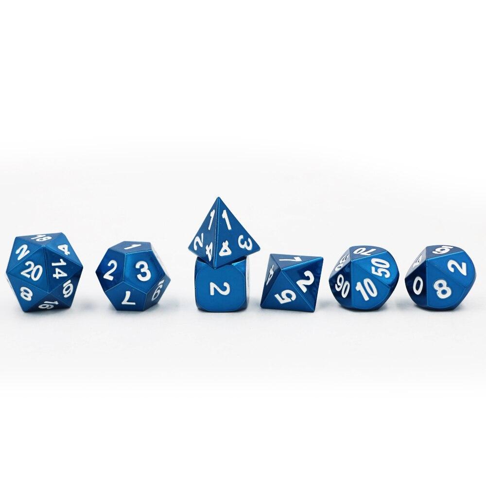 Neue 7 teile/satz Klassische RPG Würfel D & D Metall Würfel DND Spiel Würfel Set Elektrophorese Blau D4 D6 D8 d10 D12 D20 Polyhedral würfel