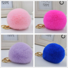 8.5 CM Genuine rex Rabbit fur ball key chain Car key ring Bag Pendant pom pom fluffy key chains fur pompon