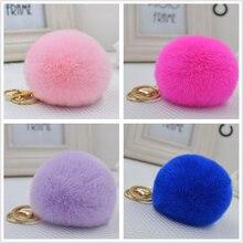 8.5 CM Genuine rex Rabbit fur ball key chain Car key ring Bag Pendant pom pom fluffy key chains fur pompon