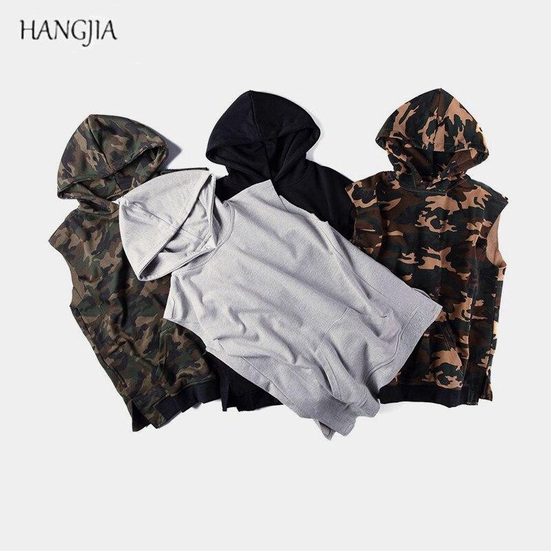 High Street Camouflage Sleeveless Hooded Hoodie Europe America Mens Kangaroo Pocket Side Split Hoodies Kanye Hip-hop Trendy Top