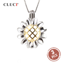 CLUCI 3pcs Silver 925 Sunflower Hollow Cage Pendant Fine Jewelry 925 Sterling Silver Pendants For Women Pearl Locket SC269SB