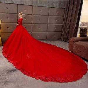 Image 3 - Vestido De Noiva 2019 New Mrs Vincere Il Rosso Sexy Del Manicotto Pieno Con Scollo A V Cappella Treno Abito di Sfera Della Principessa Da Sposa Depoca abiti F