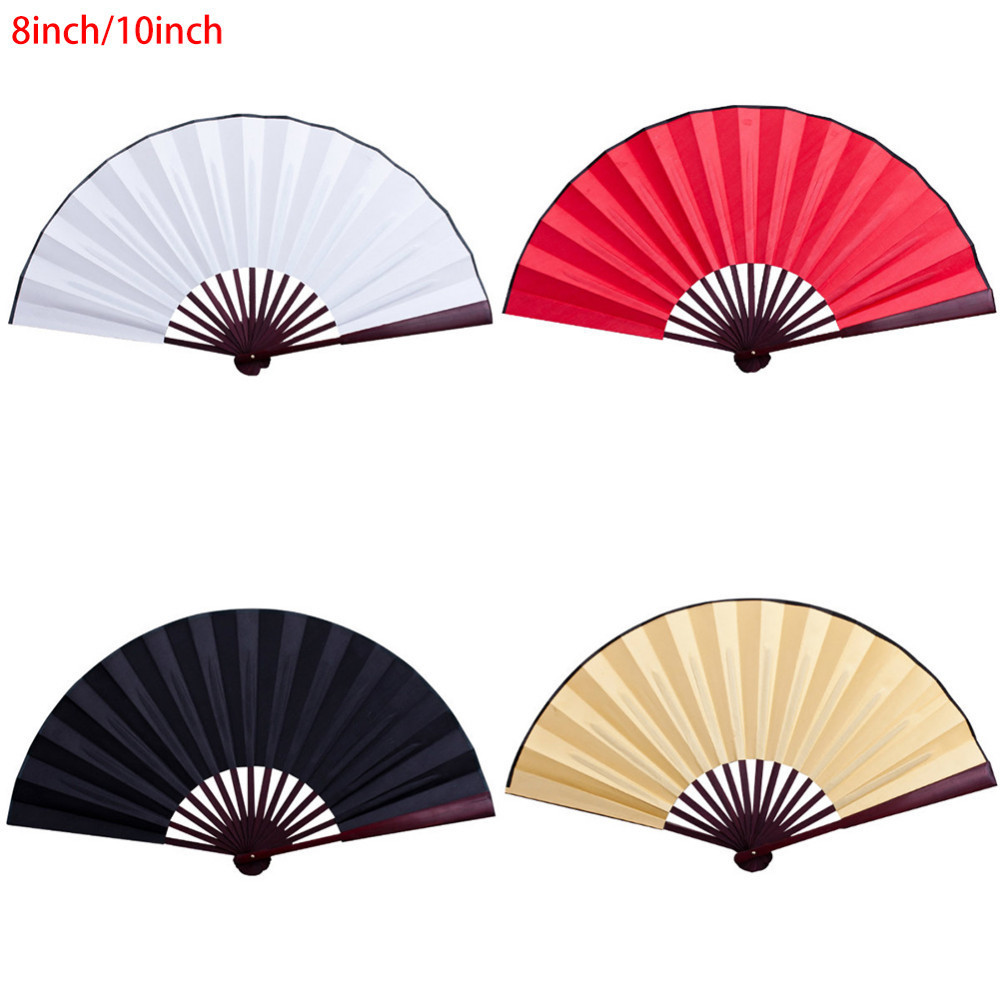 Chinese Style Silk Cloth Blank Folding Fan Wooden Bamboo Antiquity Folding Fan Calligraphy Painting For Wedding Party Favor