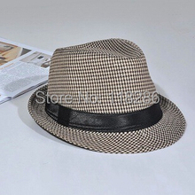 Free Shipping classical vintage hat with black ribbon newly Womens Mens Unisex Fedora Cap summer straw hat Panama hat jazz cap