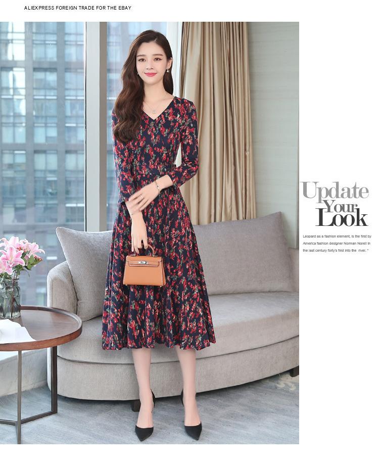 Autumn Winter New 3XL Plus Size Vintage Midi Dresses 2018 Women Elegant Bodycon Floral Dress Party Long Sleeve Runway Vestidos 28