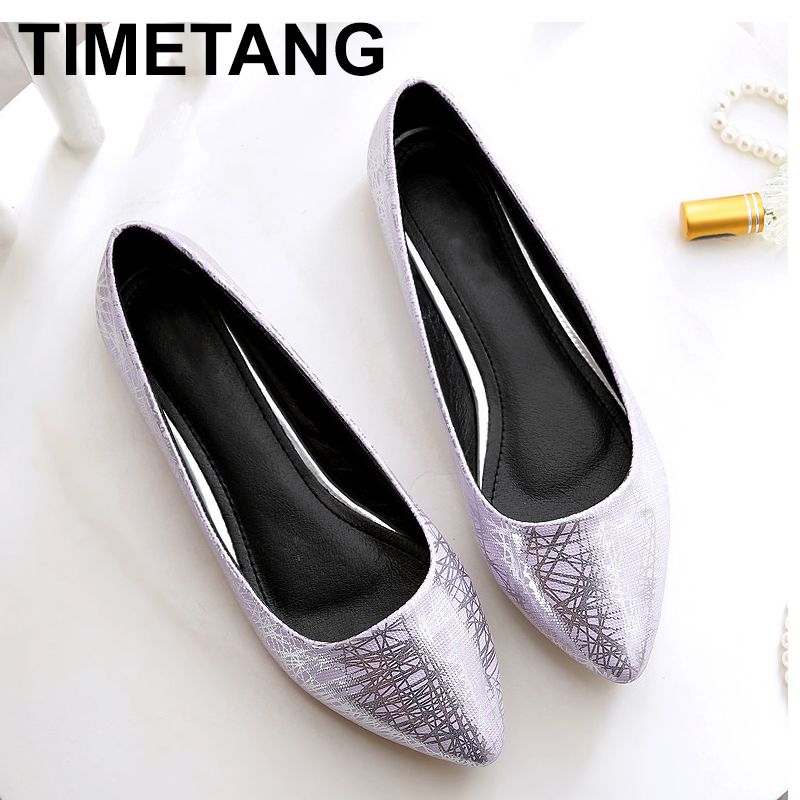 TIMETANG Women casual flat heel shoes 2018 PU leather soft bottom size 33-45 pointed Toe comfortable leather Women's shoes C103 fanyuan casual women ladies flat candy 6 color patent leather flat shoes women pointed toe flat free shipping plus size 30 49