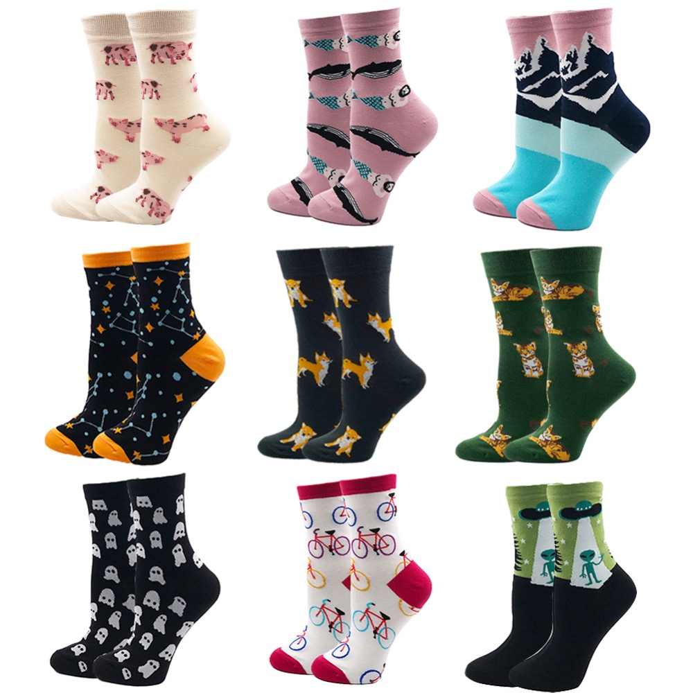 VPM  Cotton Crew Women's Socks Casual Cute Streetwear Design Funny Alien Pig Dog Cat Space Print for Girl Gift