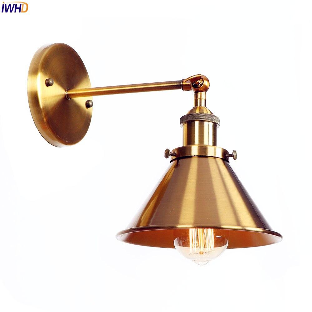 IWHD американский золотой RH Ретро Настенные светильники спальня ванная комната зеркало Лофт Винтаж бра промышленное освещение
