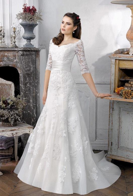 2014 New Hot sale 3/4 Sleeve wedding dress White/Ivory Applique ...
