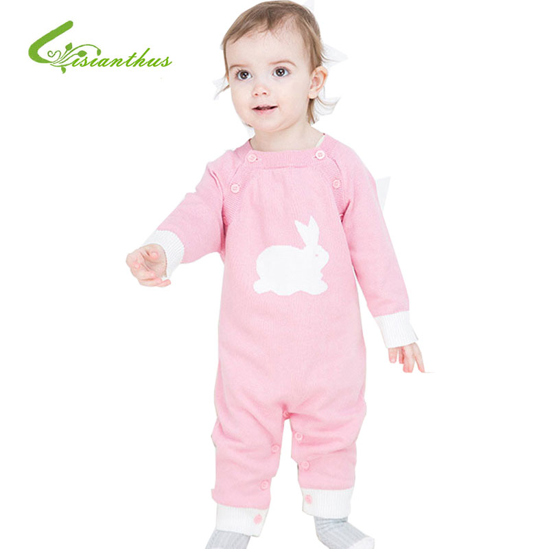 2017 Spring Autumn Baby Romper Infant Boy And Girl Cotton Cartoon Knit Jumpsuit Long Sleeve Climbing Clothes For Babies 3 Colors 100% cotton long sleeve baby rompers 3 pieces lot spring autumn newborn bebe jumpsuit infant boy girl cartoon clothes tops